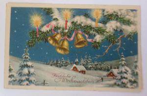 Weihnachten, Winterlandschaft, Glocken,Tannenzweig, Kerzen,  1936 ♥ (63198)
