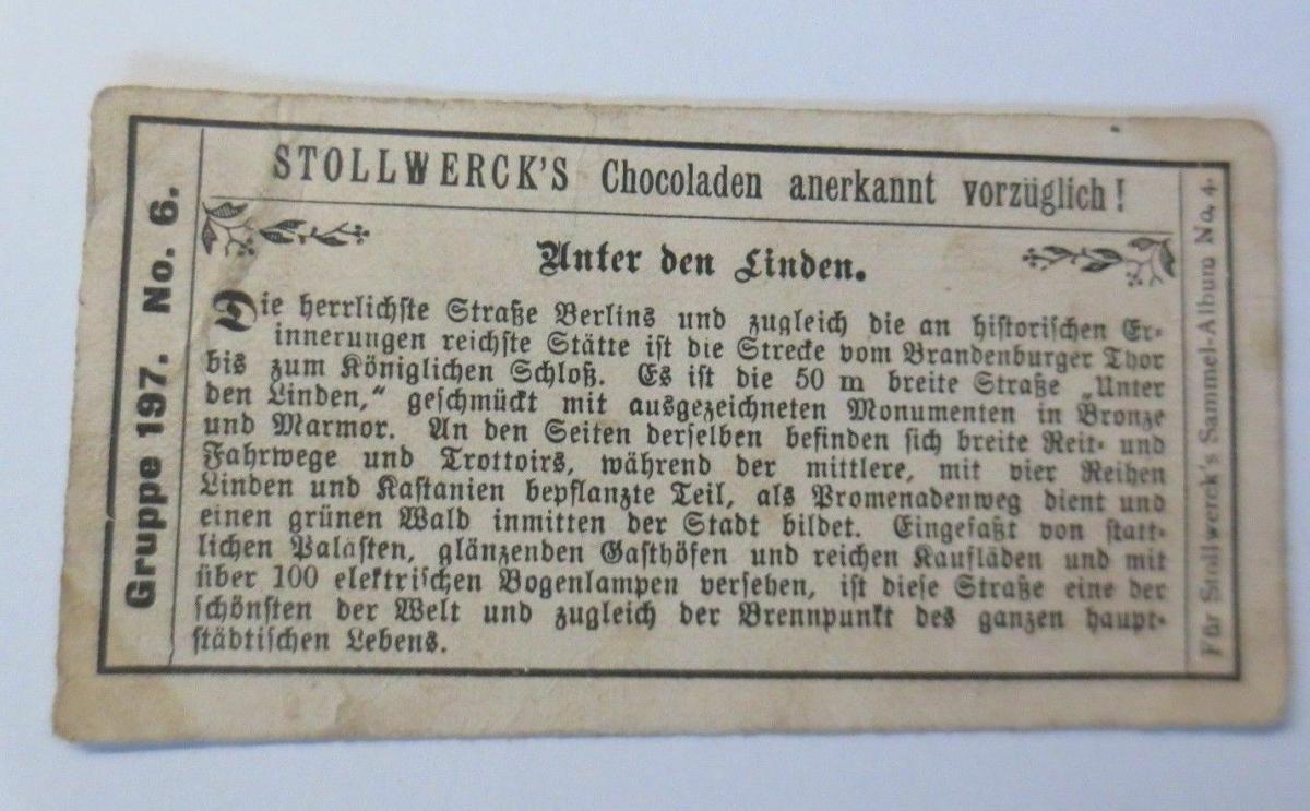 Stollwerck, Gruppe 197, Nr.6, Album ,Nr.4, Berliner Ansichten ♥ 1