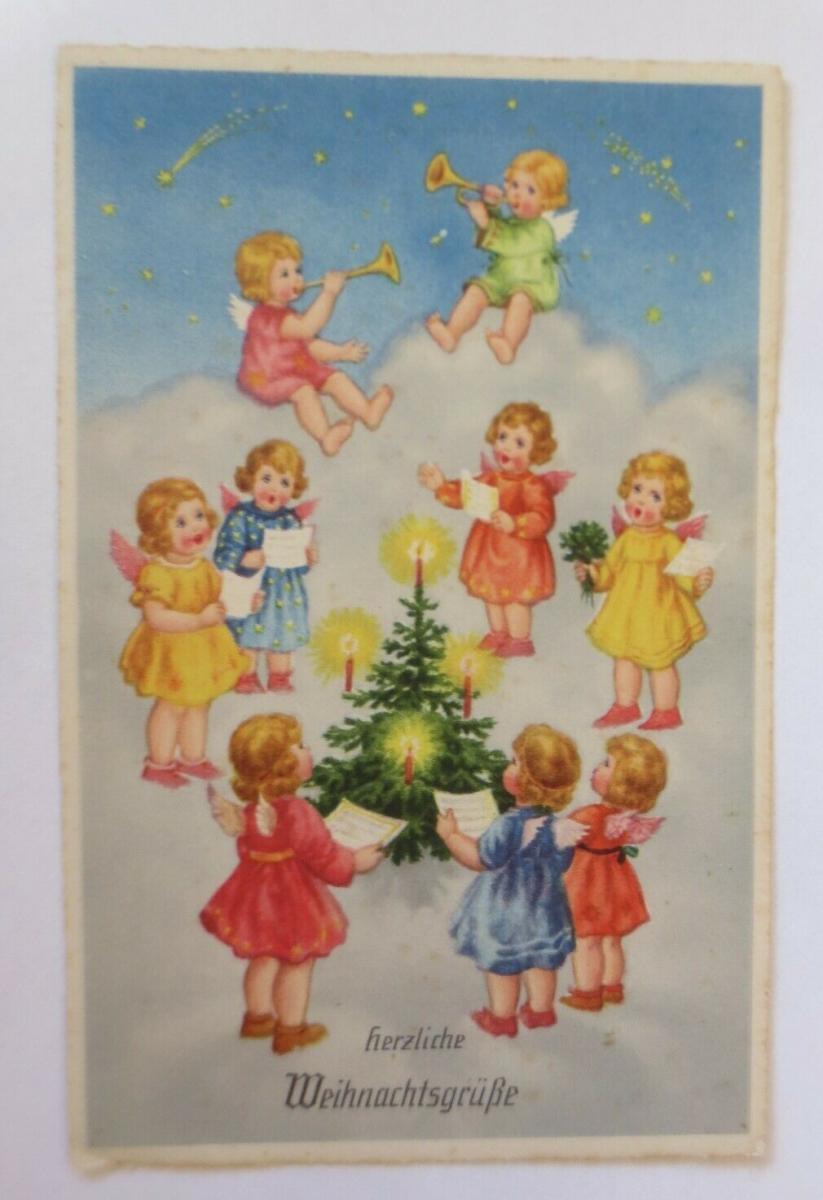 Weihnachten, Engel, Wolken, Musizieren, Singen, Trompete,  1930, Erika ♥ (61548) 0
