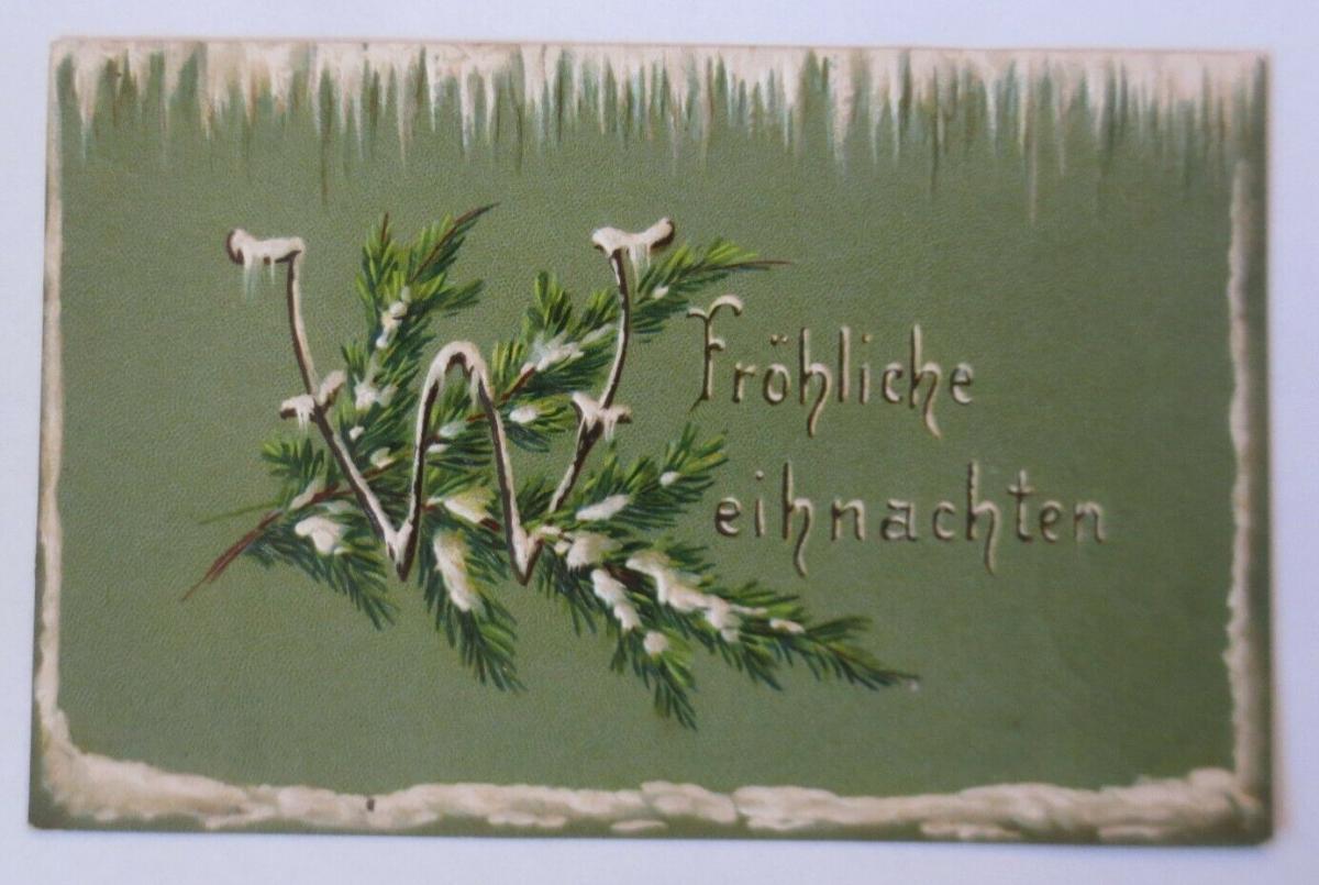 Weihnachten, Tannenzweig, Eiszapfen, 1905, Prägekarte  ♥ (57669) 0