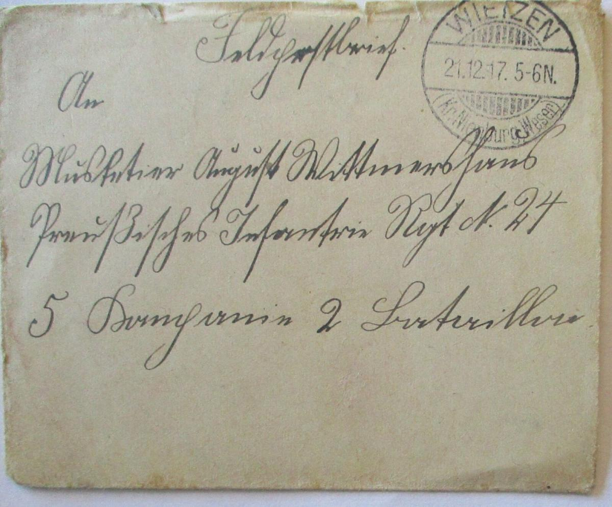 Feldpost 1917 aus Wietzen an Musketier im IR 24 (57009) 0