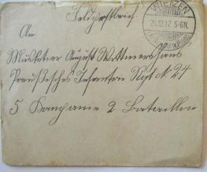 Feldpost 1917 aus Wietzen an Musketier im IR 24 (57009)