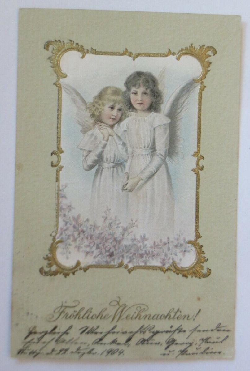 Weihnachten, Engel, Blumen, Jugendstil,  1904, Prägekarte ♥ (58562) 0