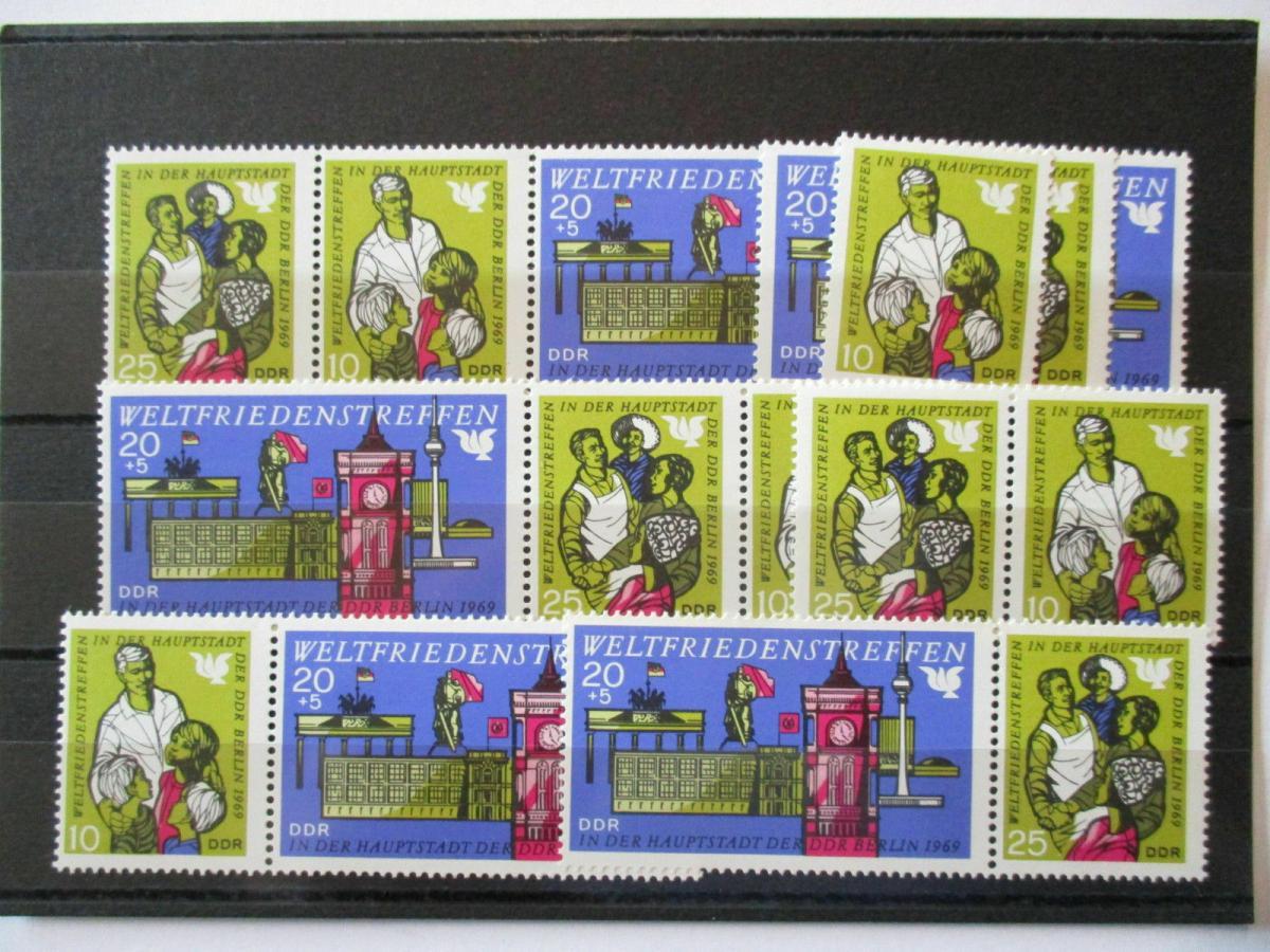 DDR, Weltfriedenstreffen 1969, 5 xx Zusammendruckkombinationen + Einzel (46089) 0