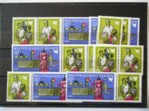 DDR, Weltfriedenstreffen 1969, 5 xx Zusammendruckkombinationen + Einzel (46089)
