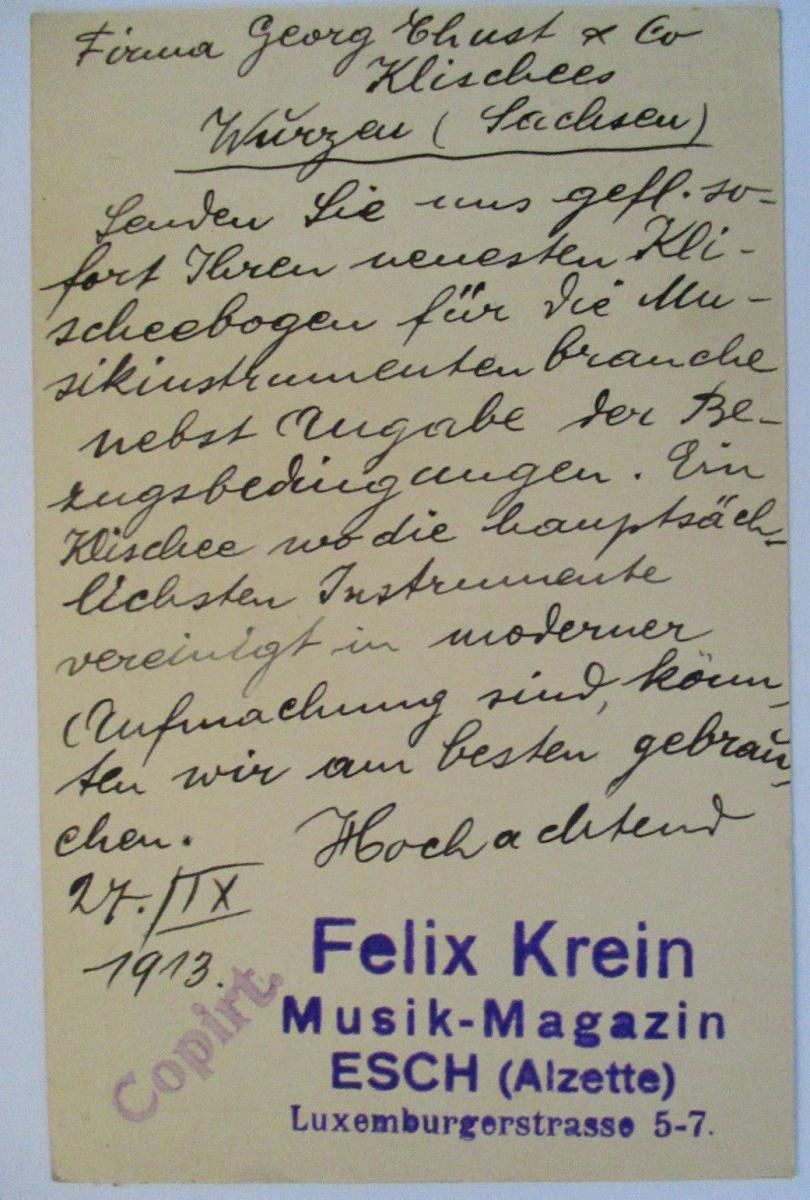 Luxemburg, Ganzsache 1913 von Esch nach Wurzen, Abs. Musik Magazin Krein 1