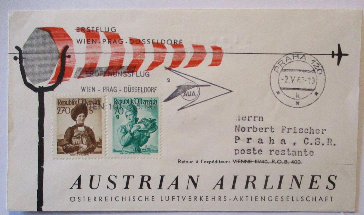 Österreich AUA Erstflug Wien Prag Düsseldorf 1961 (22197) 0