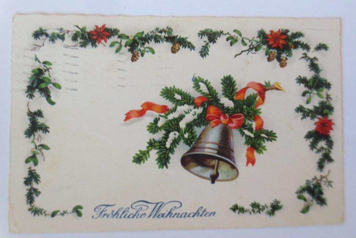 Weihnachten, Glocke, Tannenzapfen, Tannenzweig,  1933 ♥ (50427) 0