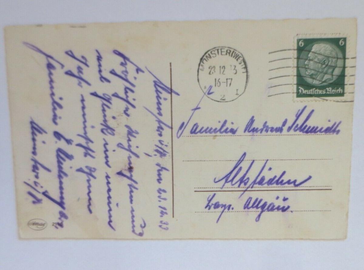 Weihnachten, Glocke, Tannenzapfen, Tannenzweig,  1933 ♥ (50427) 1