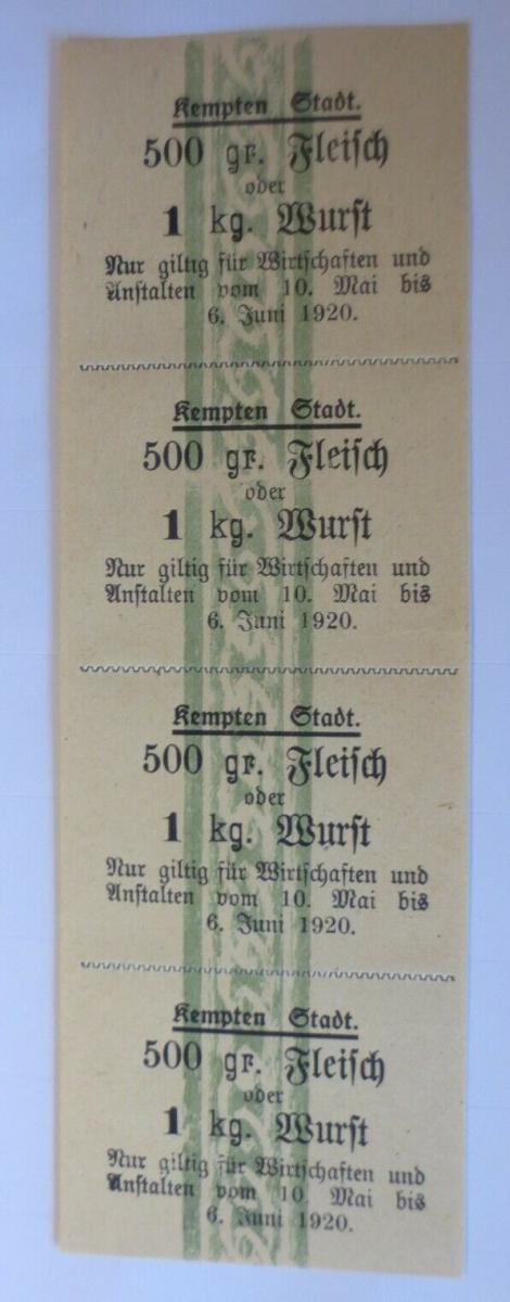 Lebensmittelkarten, Stadt Kempten Fleisch, Wurst, Mai-Juni 1920 ♥ (X138) 0