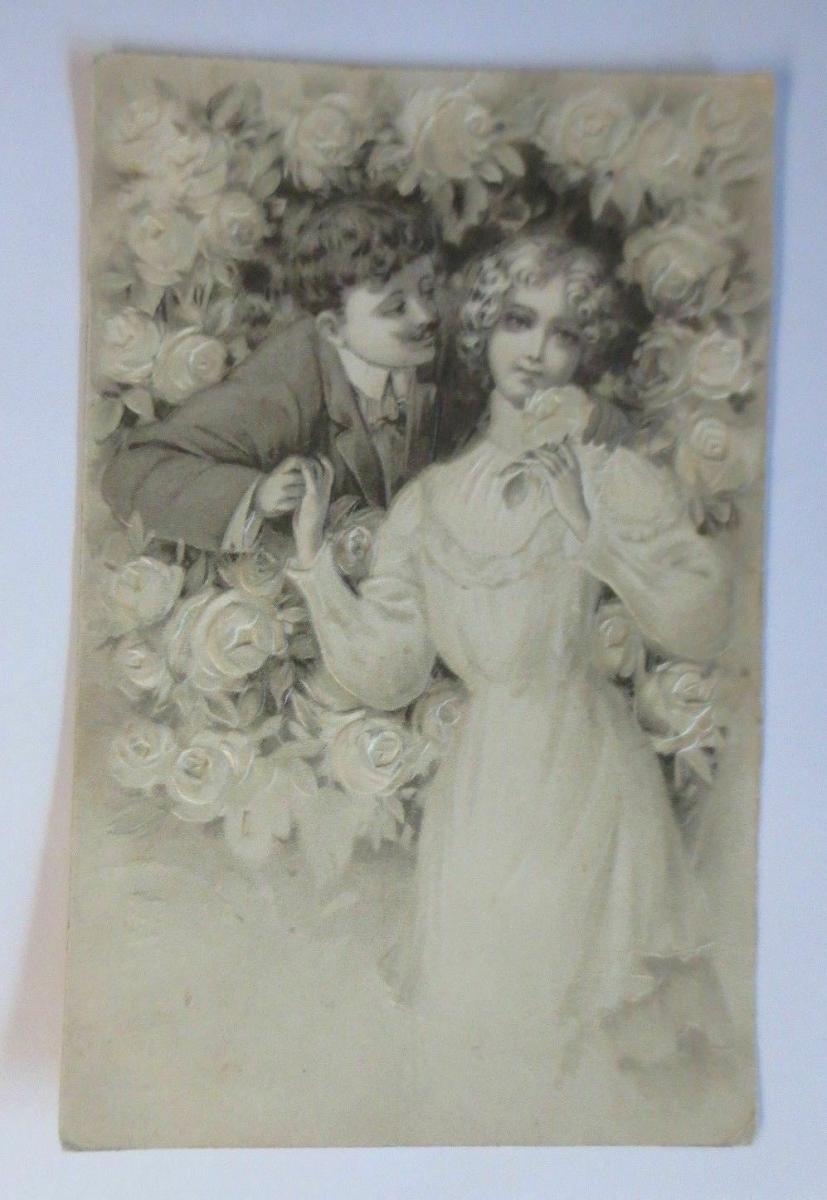 Männer, Frauen, Mode, Rosen,  1907, Prägekarte ♥ (45382) 0