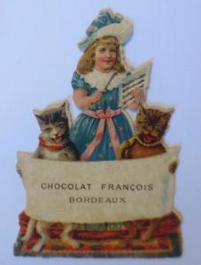 Oblaten, Kaufmannsbild, Katzen, Kinder, Mode,   10 cm x 8 cm,  1900  ♥