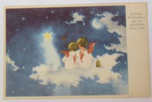 Weihnachten, Engel, Stern, Mond, Wolken,  1953 ♥ (39657)