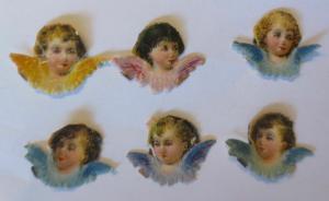 6. Oblaten, Engel, Wolke,    1900,  3 cm x 2 cm  ♥  (5099)
