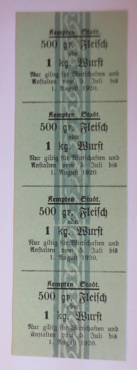 Lebensmittelkarten, Stadt Kempten Fleisch, Wurst, Juli-August 1920 ♥ (X136) 0