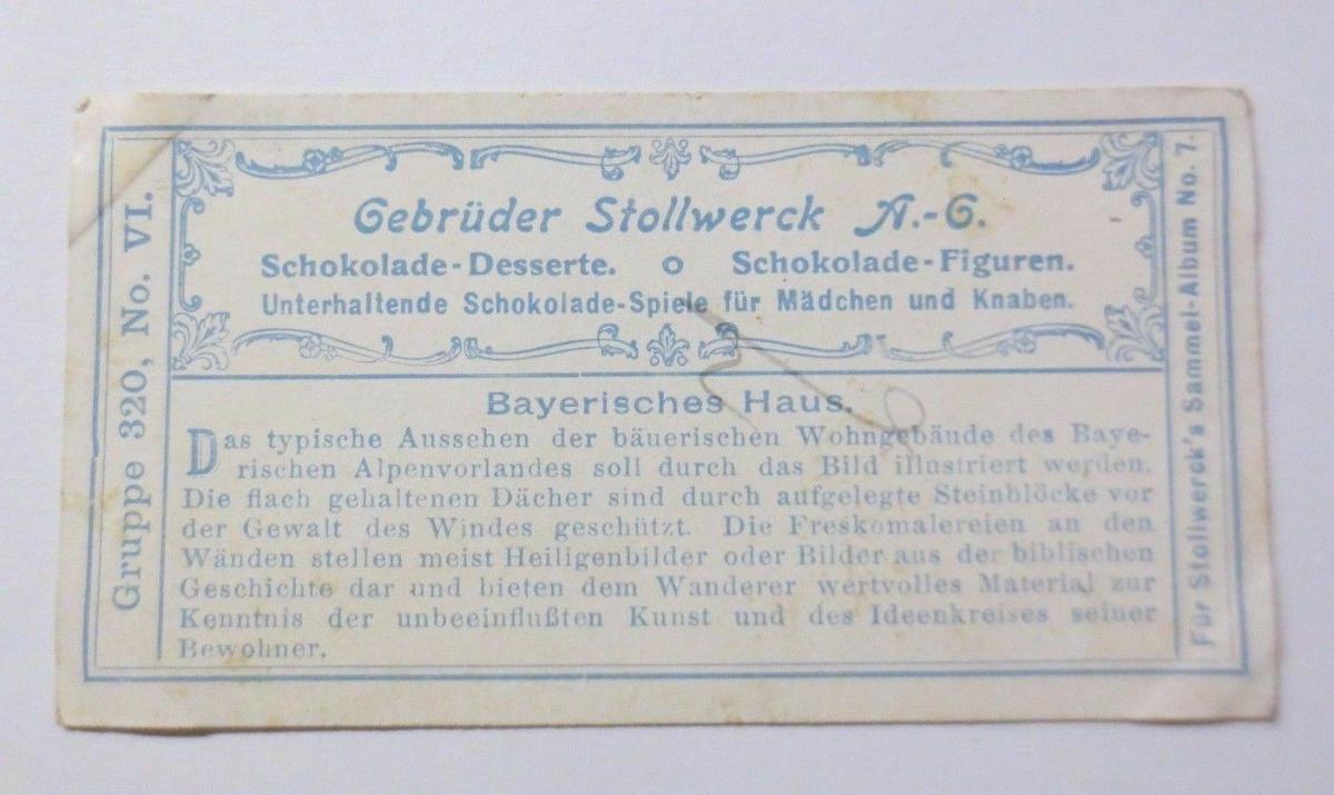 Stollwerck, Gruppe 320,  Nr.6,   Album  Nr.7,  Bayrisches Alpenvorland ♥ 1