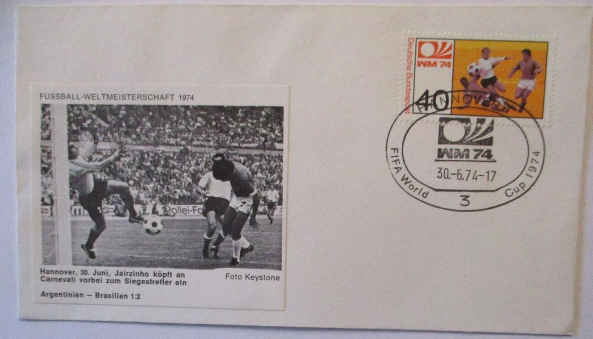 Fußball WM 1974 Argentinien - Brasilien, Jairzinho und Carnevali (17075) 0