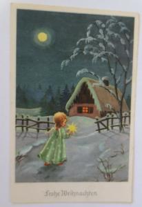 Weihnachten, Engel, Stern, Mond, Winterlandschaft, Haus, 1953 ♥ (29145)