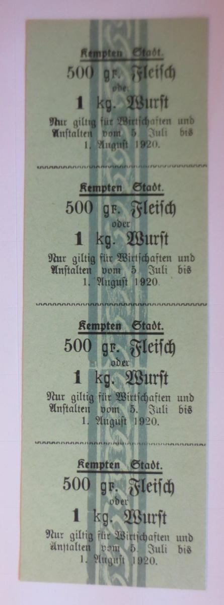 Lebensmittelkarten, Stadt Kempten Fleisch, Wurst, Juli-August 1920 ♥ (X133) 0