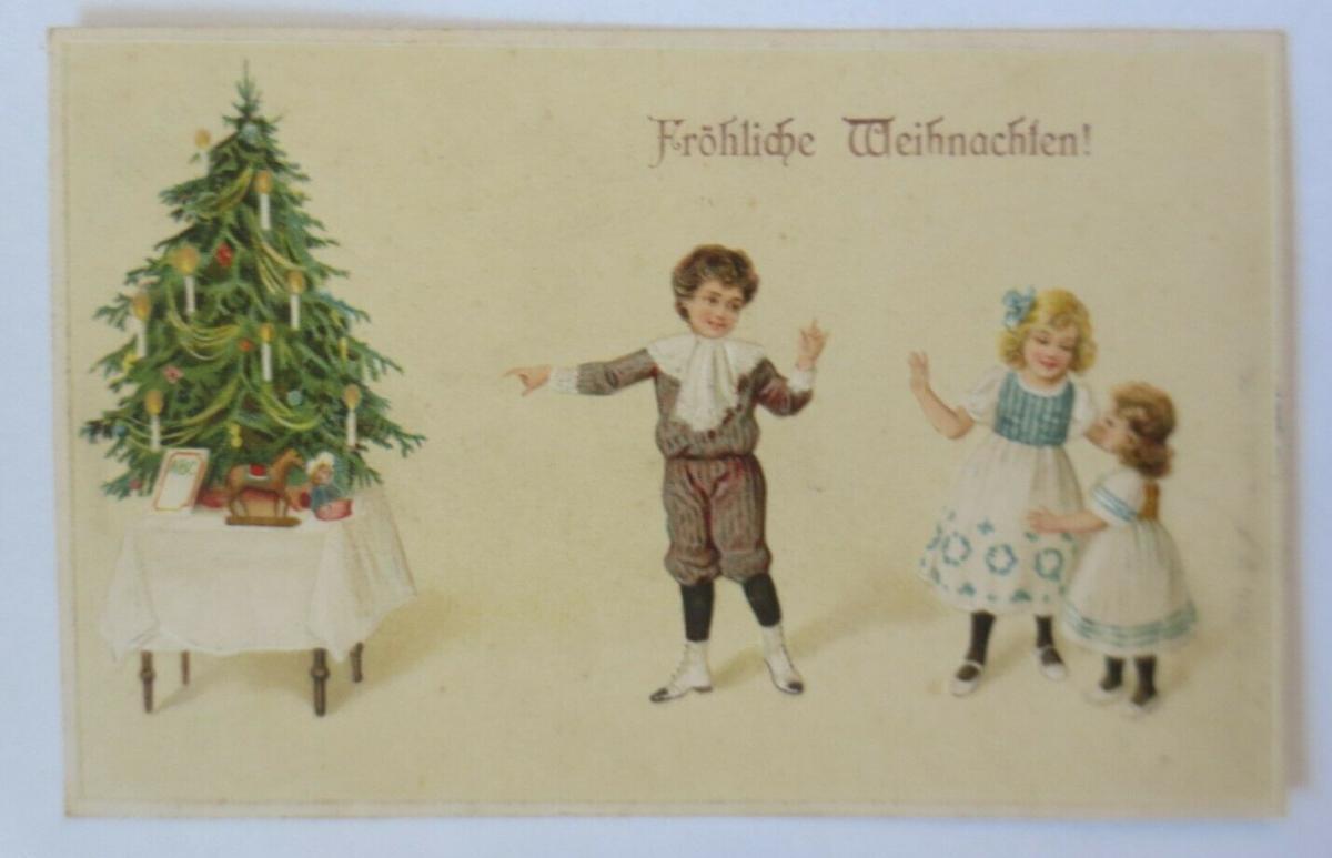 Weihnachten, Kinder, Mode, Weihnachtsbaum, Spielzeug, 1913, Prägekarte ♥ (22612) 0
