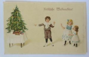 Weihnachten, Kinder, Mode, Weihnachtsbaum, Spielzeug, 1913, Prägekarte ♥ (22612)