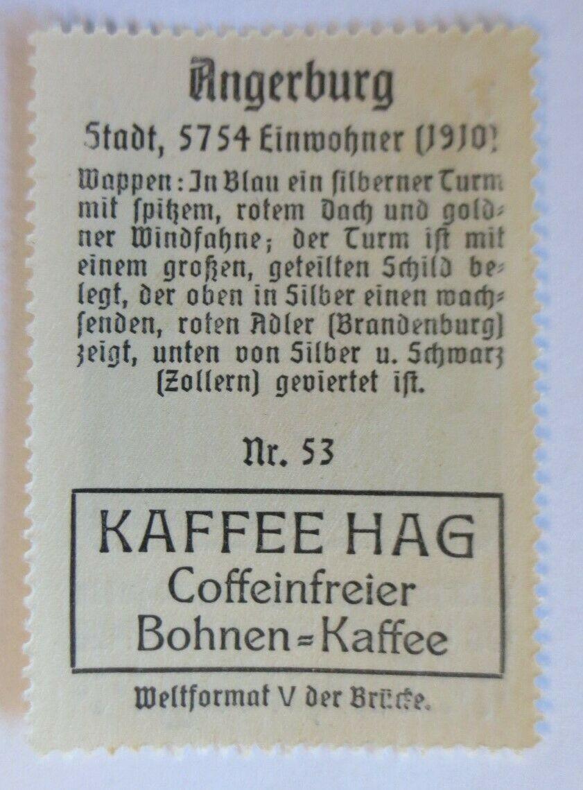 Reklamemarke-Kaffee Hag, Wappen von Angerburg, Königreich Preußen 1910♥ (24108) 1