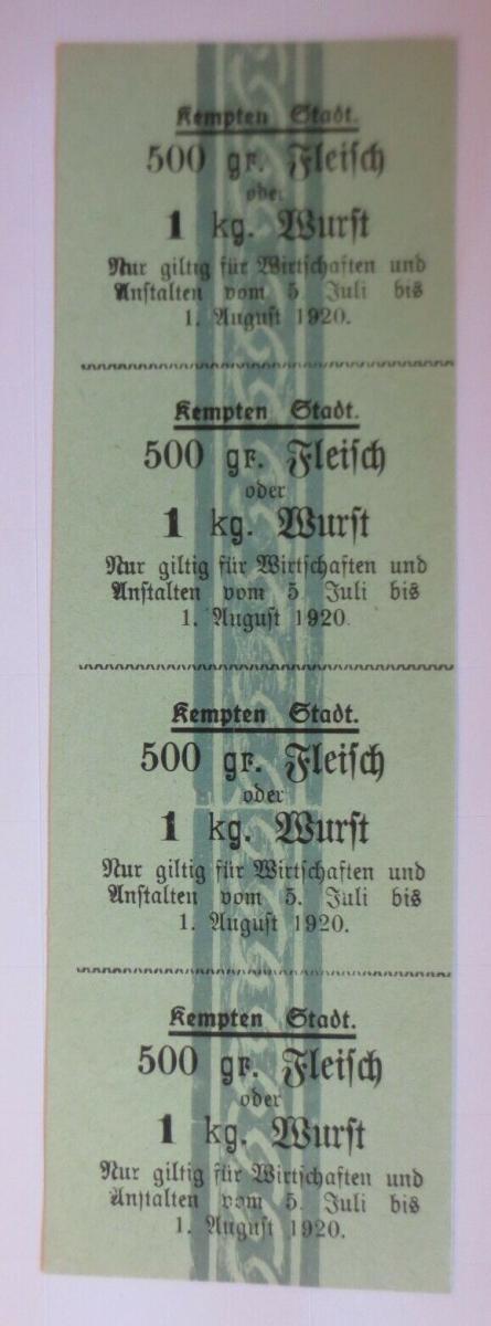 Lebensmittelkarten, Stadt Kempten Fleisch, Wurst, Juli-August 1920 ♥ (X132) 0