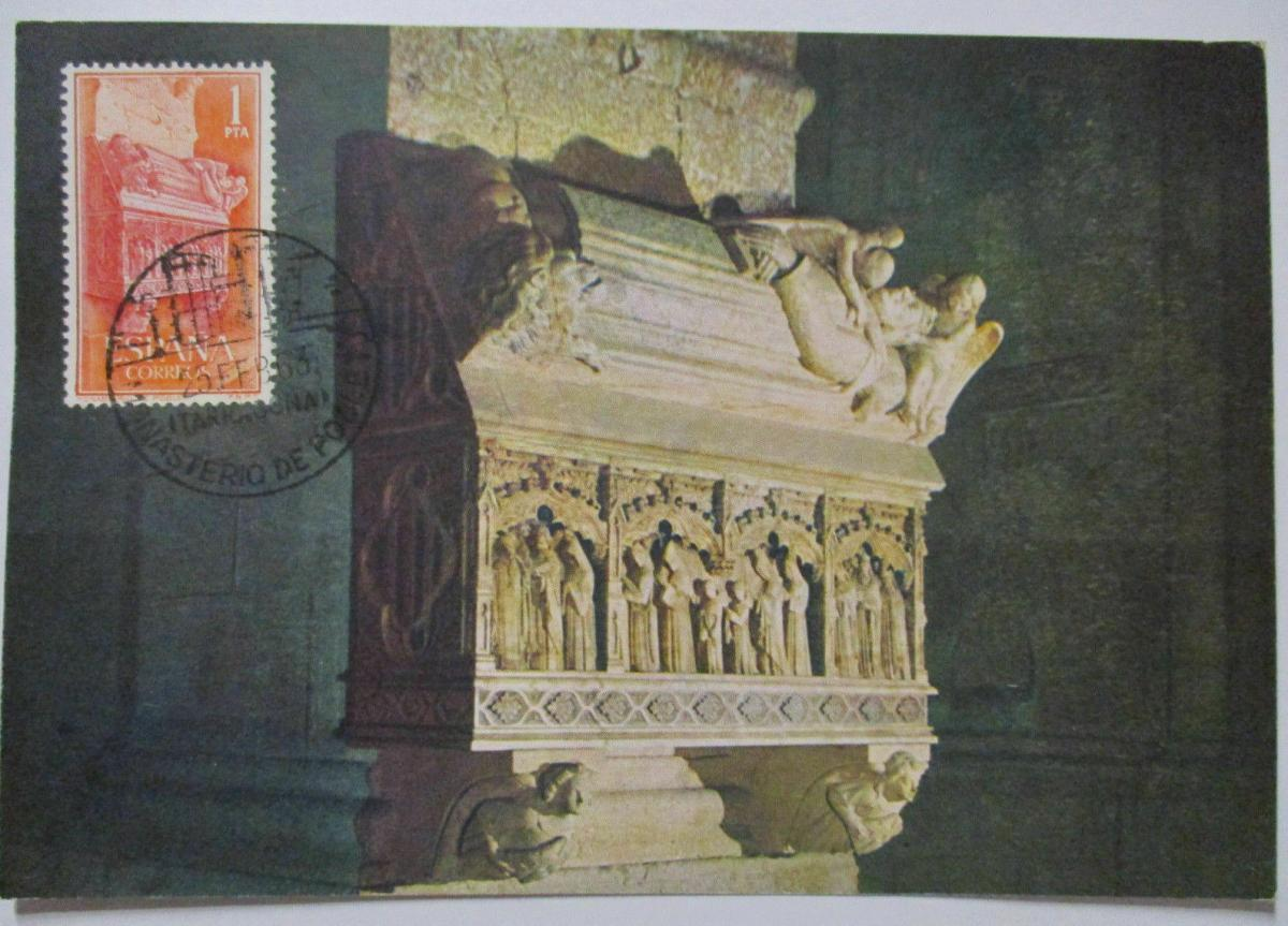 Spanien Maximumkarte  von 1963 Monasterio de Poblet (42572) 0