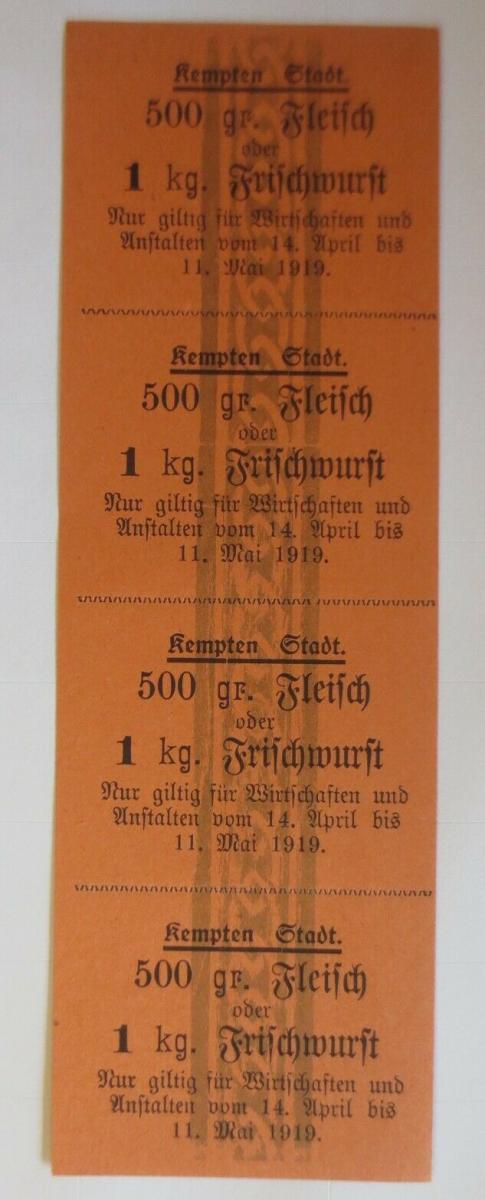 Lebensmittelkarten, Stadt Kempten Fleisch, Wurst, Mai-April 1916 ♥ (X129) 0