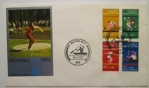 Bundesrepublik, Olympia Heftchenblatt 22 aus MH 17 FDC Augsburg 1972 (41349)