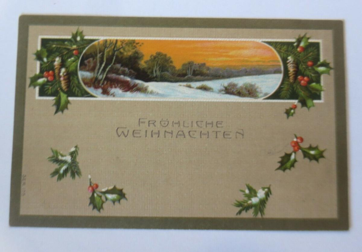 Weihnachten, Jugendstil, Winterlandschaft, Abendrot,  1908, Prägekarte ♥ (63377) 0