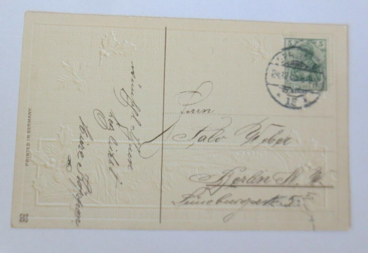 Weihnachten, Jugendstil, Winterlandschaft, Abendrot,  1908, Prägekarte ♥ (63377) 1