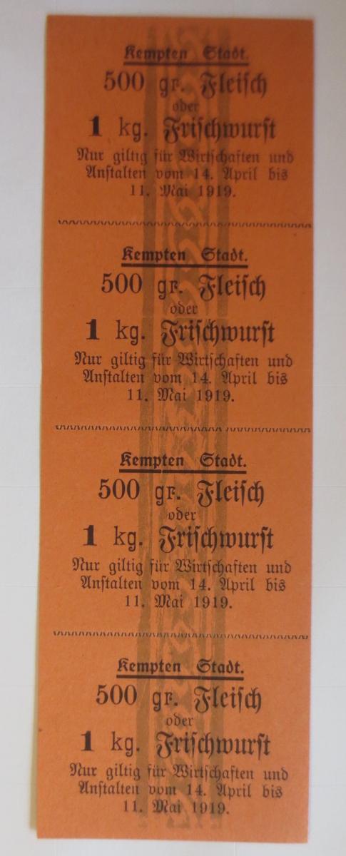 Lebensmittelkarten, Stadt Kempten Fleisch, Wurst, Mai-April 1916 ♥ (X128) 0