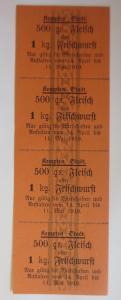 Lebensmittelkarten, Stadt Kempten Fleisch, Wurst, Mai-April 1916 ♥ (X128)