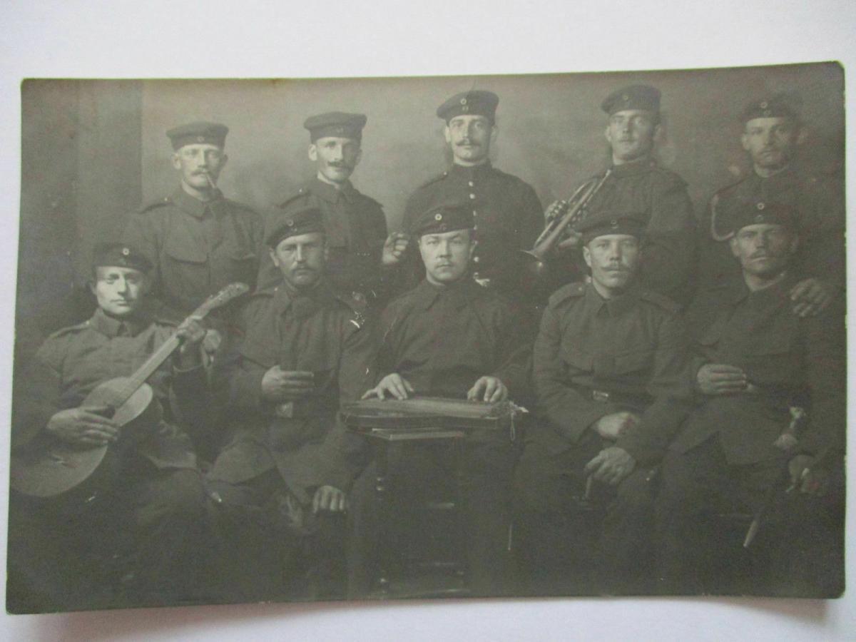 Deutsche Soldaten mit Musik Instrumente, Württemberg. Bahnpost 1912 (28248) 0