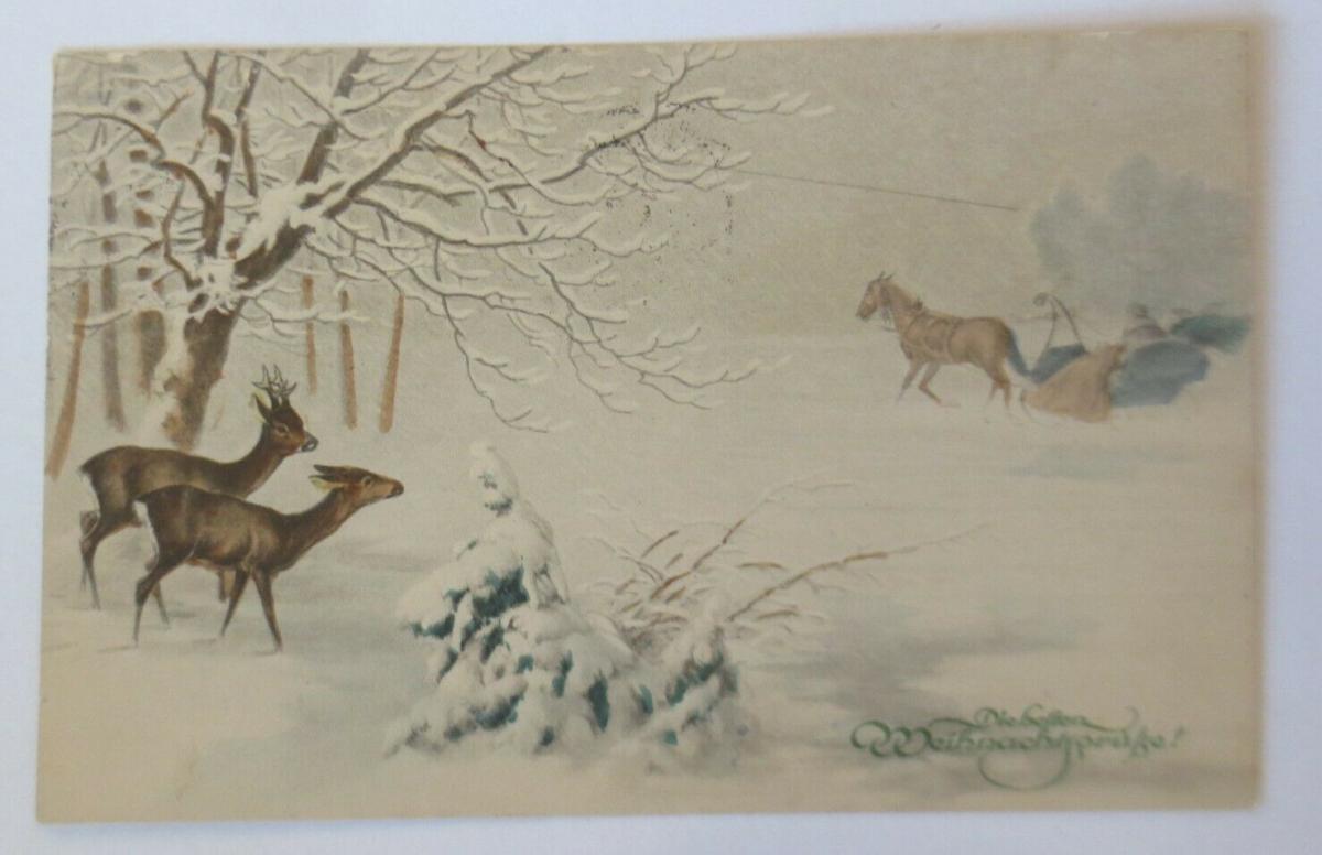Weihnachten, Kutsche, Männer, Frauen, Rehe,  1920 ♥ (13417) 0