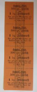 Lebensmittelkarten, Stadt Kempten Fleisch, Wurst, Mai-April 1916 ♥ (X127)