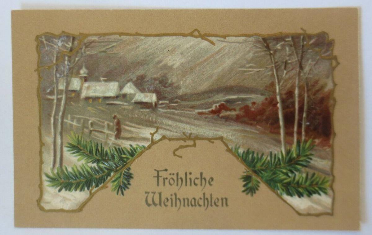 Weihnachten, Jugendstil, Winterdorf, Tannenzweig,  1909, Prägekarte ♥ (9972) 0