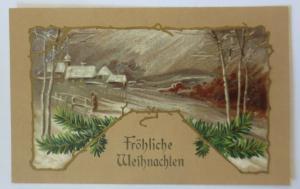 Weihnachten, Jugendstil, Winterdorf, Tannenzweig,  1909, Prägekarte ♥ (9972)