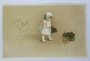 Neujahr, Kinder, Mode, Wagen, Kleeblatt, 1913 ♥ (9902)
