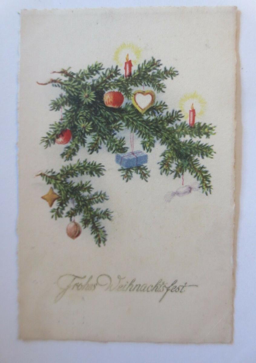 Weihnachten, Tannenzweig, Kerzen, Apfel, Weihnachtschmuck,  1926  ♥ (49160) 0