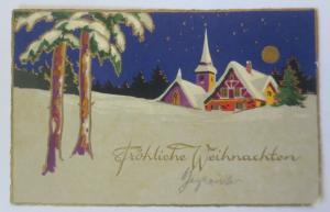 Weihnachten, Winterlandschaft, Kirche, Haus, Mond,  1929 ♥ (9572)