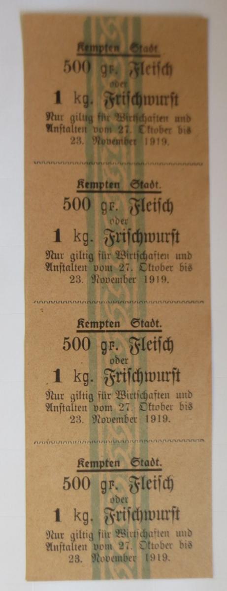 Lebensmittelkarten, Stadt Kempten Fleisch, Frischwurst, Oktober-Nov. 1919♥(X119) 0
