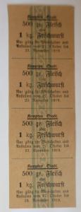 Lebensmittelkarten, Stadt Kempten Fleisch, Frischwurst, Oktober-Nov. 1919♥(X119)