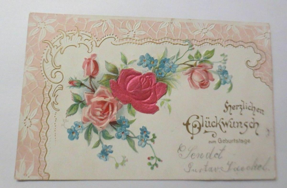 Geburtstag, Blumen, Rosen, Jugendstil,    1903, Prägekarte ♥ (38753) 0
