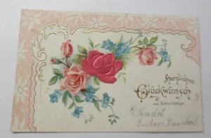 Geburtstag, Blumen, Rosen, Jugendstil,    1903, Prägekarte ♥ (38753)