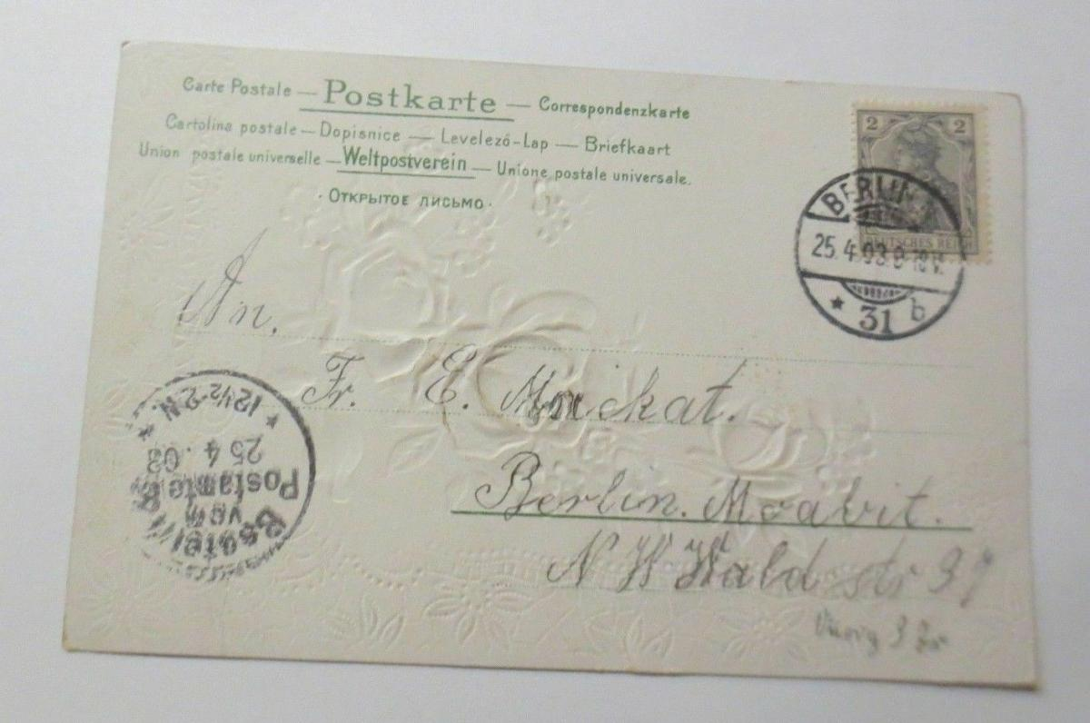 Geburtstag, Blumen, Rosen, Jugendstil,    1903, Prägekarte ♥ (38753) 1