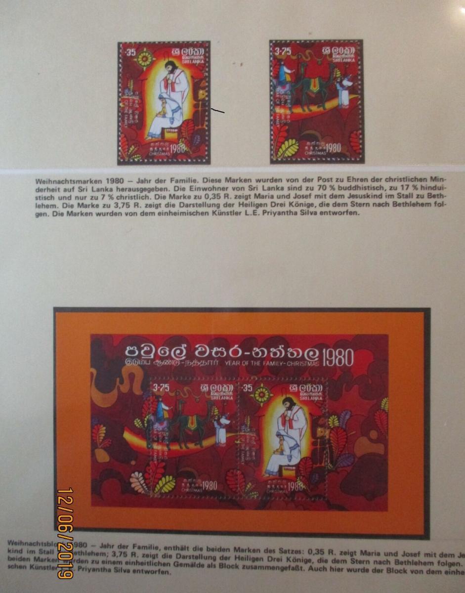 Sri Lanka Block + Satz Weihnachten 1980 postfrisch (37012) 0