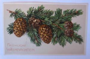 Weihnachten, Tannenzweig, Tannenzapfen,   1908, Prägekarte  ♥ (37723)