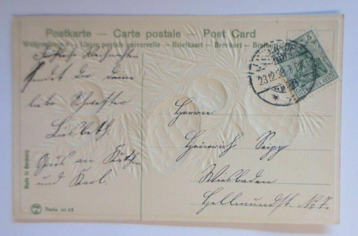Weihnachten, Tannenzweig, Tannenzapfen,   1908, Prägekarte  ♥ (37723) 1